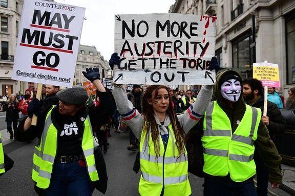 اعتراضات جلیقه زردهای لندن همزمان با معترضان پاریس
