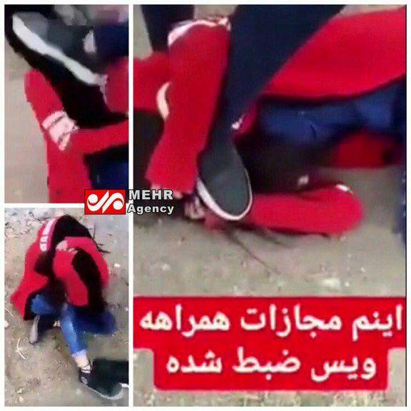 فیلم کتک زدن یک دختر جوان توسط دو نفر در یک خانه باغ + ویدئو