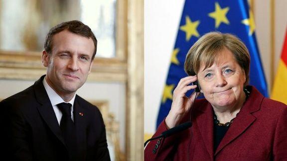 رئیس جمهور دو کشور فرانسه و آلمان با یکدیگر گفتگو می کنند
