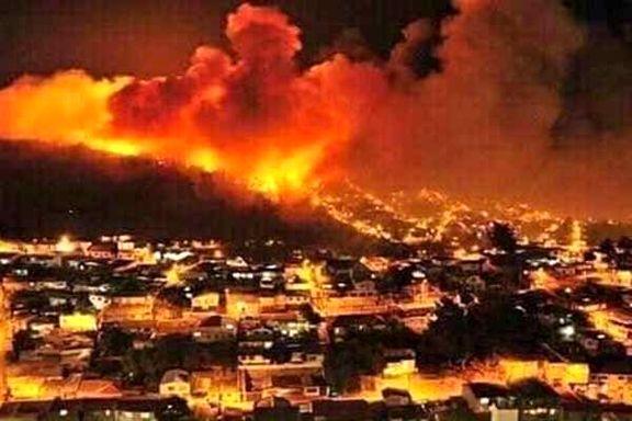 آتش سوزی گسترده در جنوب فلسطین