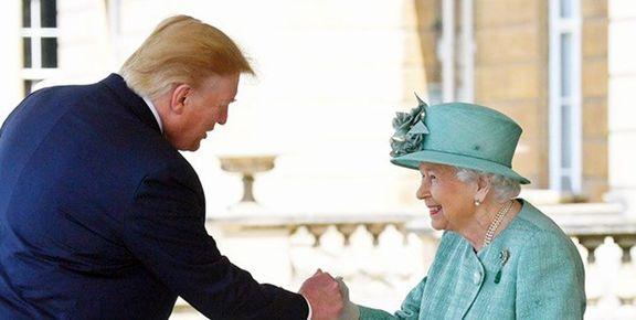 نحوه دست دادن ترامپ به ملکه انگلیس خبرساز شد+ عکس