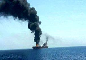فیلم آتش گرفتن یک نفتکش در نزدیکی سواحل شارجه