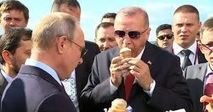ولادیمیر پوتین برای اردوغان بستنی خرید + فیلم
