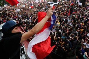 درگیری پلیس ضدشورش با معترضان  شیلی