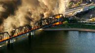 آتشسوزی بزرگ یک قطار در آریزونای آمریکا + فیلم