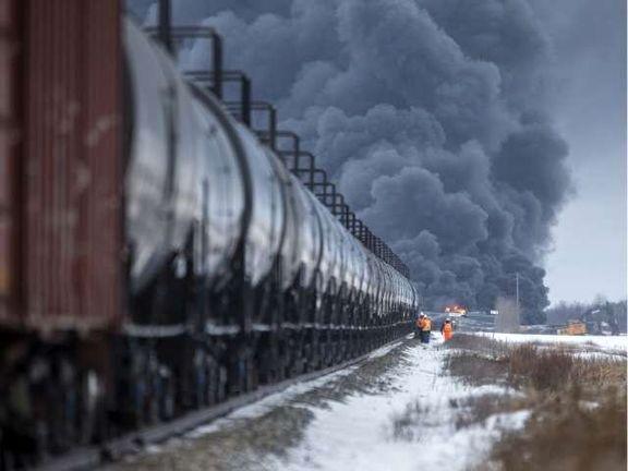 قطار حامل نفت در کانادا دچار انفجار و آتشسوزی شد