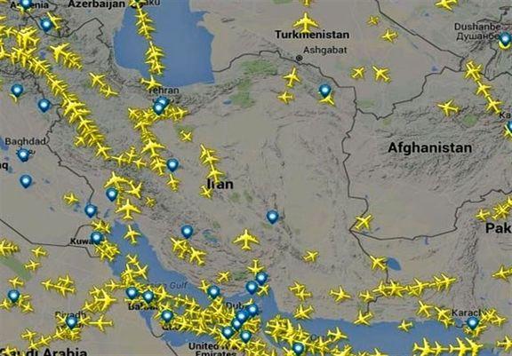 پروازهای عبوری از آسمان ایران ۱۳۰ درصد افزایش یافت