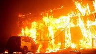 آتش سوزی بزرگ در ساختمان در حال ساخت  در جنت آباد تهران + فیلم