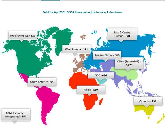 تولید جهانی آلومینیوم در ماه آوریل ۵ درصد رشد کرد