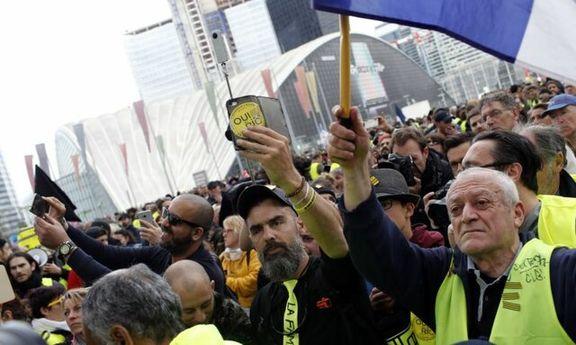 تظاهرات جلیقه زردها و دستگیری 80 نفر از آنها / تجمع جلیقه زردها در برابر ساختمان وزارت اقتصاد فرانسه