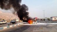 سوختن 6 نفر در آتش در پی  برخورد وانت مزدا با خودرو سواری در عسلویه