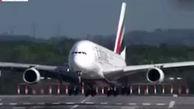 وقتی توفان بزرگ  ترین هواپیمای مسافربری دنیا را پس می  زند!