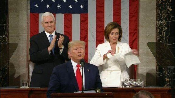 پاسخ نانسی پلوسی به دلیل پاره کردن متن سخنرانی سالانه ترامپ