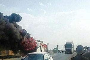 جزئیات  بیشتر در مورد اتوبوس اتش گرفته جاده همدان - تهران